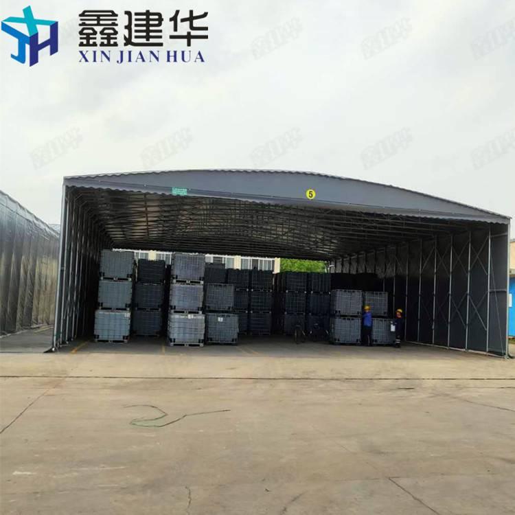 厂家做推拉棚 电动伸缩雨棚 大型仓库棚 膜结构雨棚
