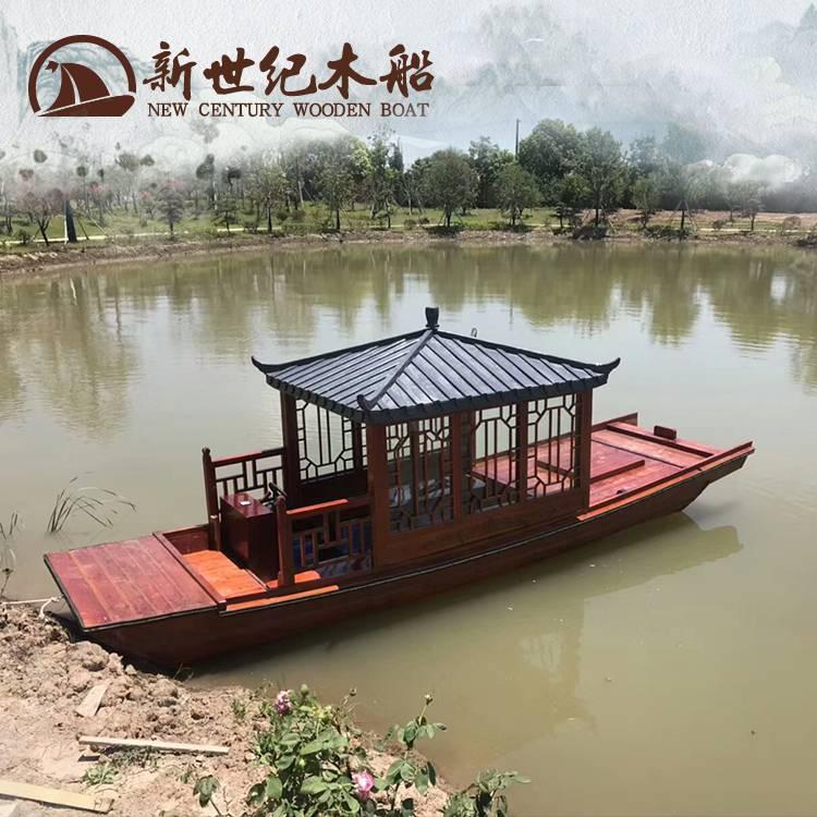 仿古木亭船生产 景区水上旅游观光电动小游船