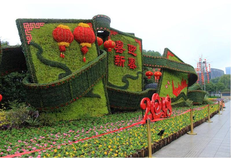 四川甘孜燈籠造型綠雕成都綠雕植物定制