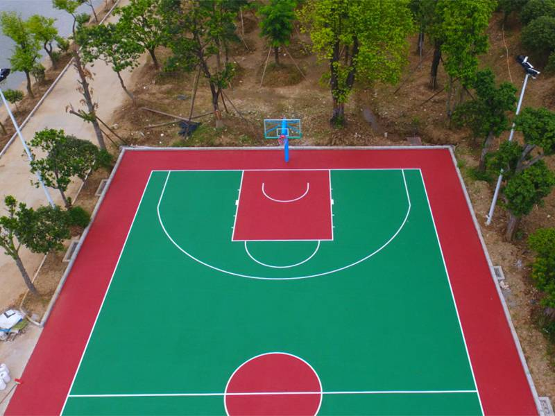 广州学校篮球场地面漆施工 彩色篮球场地胶铺设
