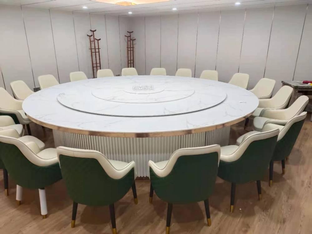 新中式岩板电动餐桌 酒店电动圆桌配套餐椅