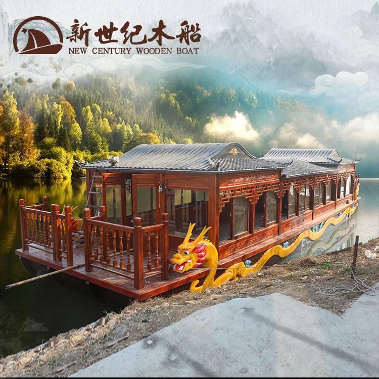 16米雕龙画舫船 上海朱家角大型游客接待木质房船 50人仿古观光旅游船