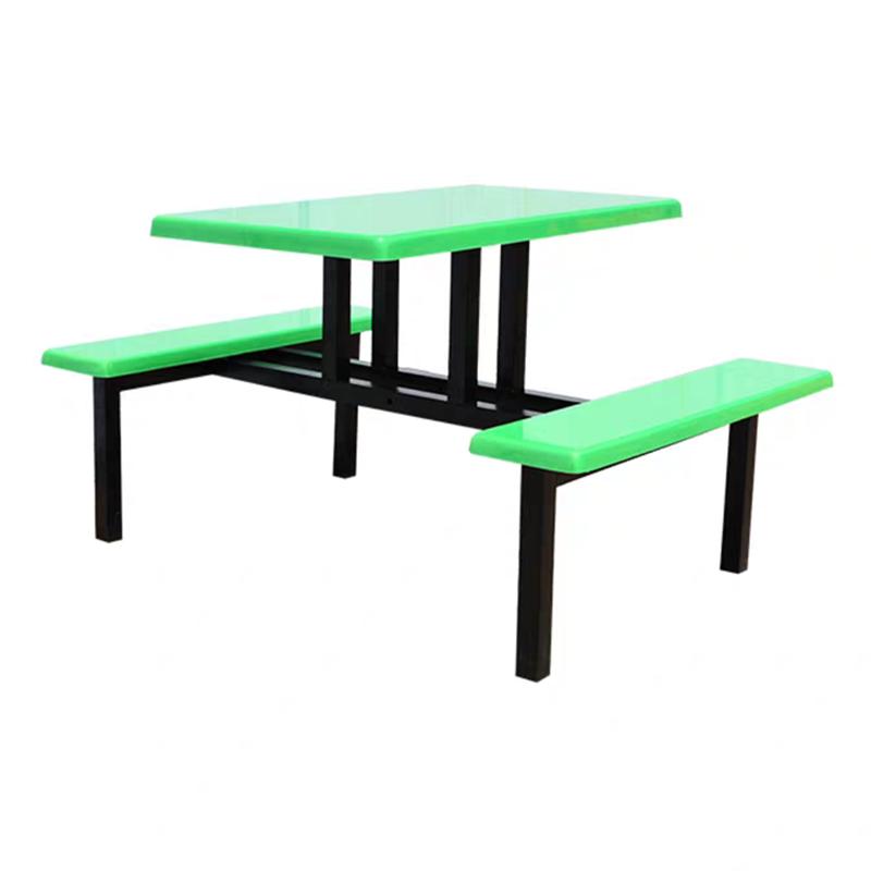 湖南生产厂家供应玻璃钢食堂餐桌椅4人坐员工饭堂连体桌椅饭桌凳
