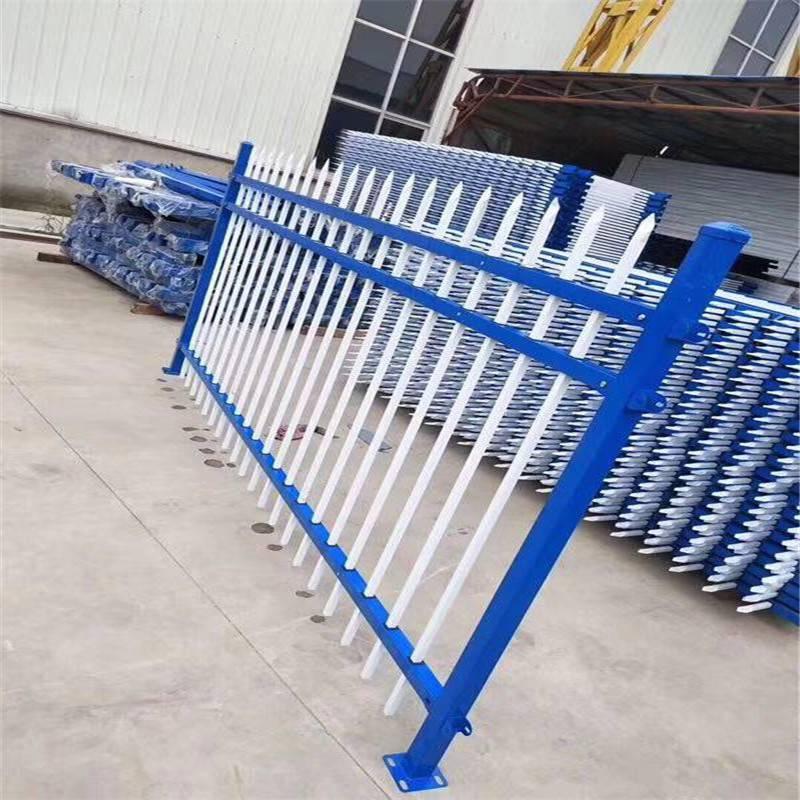 锌钢护栏 竖管组装式护栏 蓝白围墙栏杆 别墅区围墙护栏