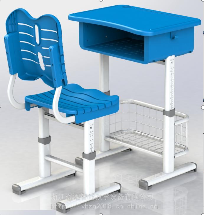 新款 钢塑手摇升降课桌椅