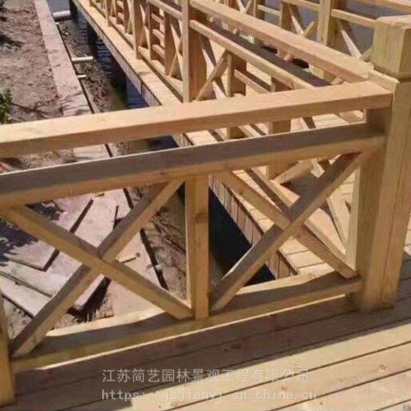 碳化木护栏防腐木栏杆实木护栏设备网格木格栅施工南京景观工程公司