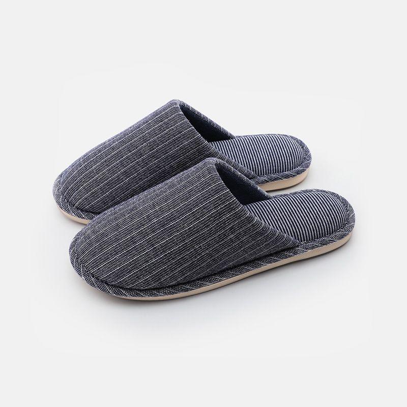 木地板条纹情侣棉拖鞋女 新款冬季家居室内防滑包头卧室拖鞋