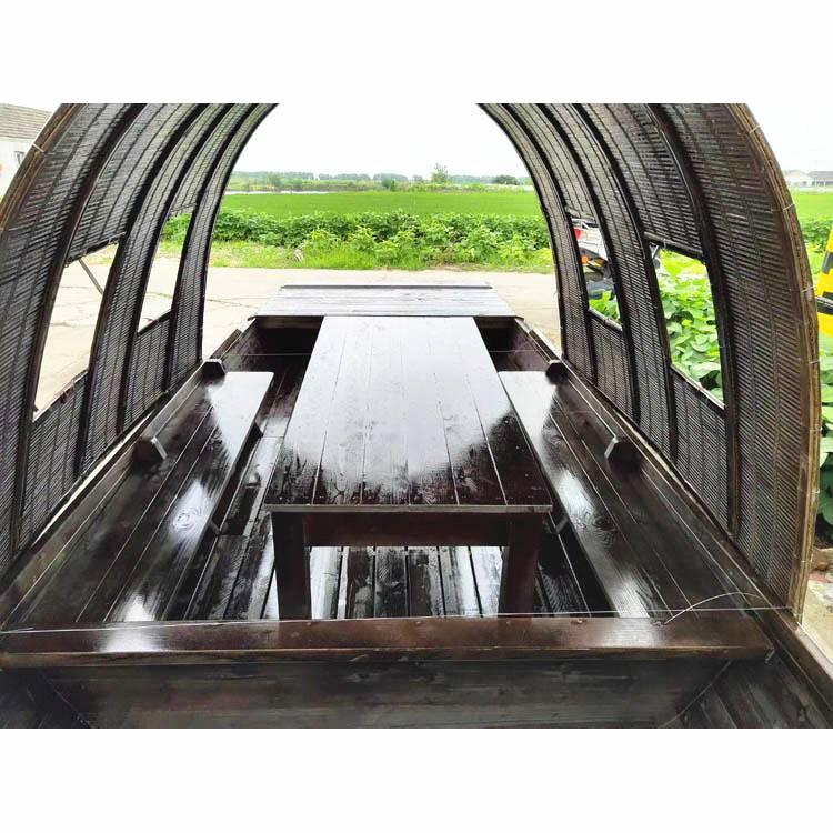 生产5米长2米宽可以坐4--6人吃饭的仿古餐饮乌篷木船厂家
