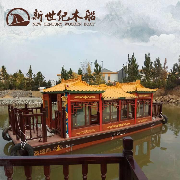 14人画舫船制造公司 雕刻龙柱古典木质游船 红顶彩绘观光旅游船
