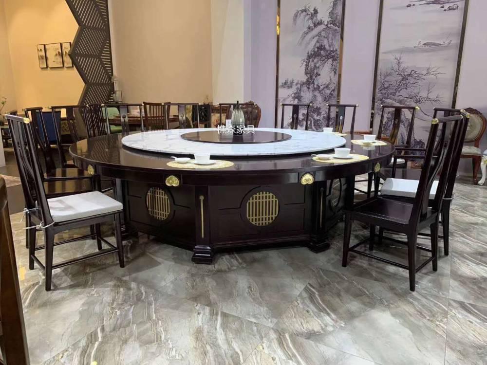 酒店电动圆桌 转盘自动餐桌 饭店餐桌配套餐椅