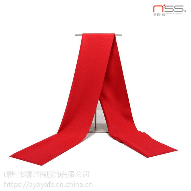 中国红围巾刺绣丝印定制logo年会活动促销礼品大红色棉质围巾披肩