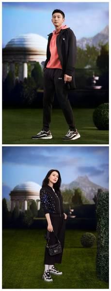 FILA时尚运动代言人黄景瑜、高圆圆身穿FILA POMPEI系列服饰