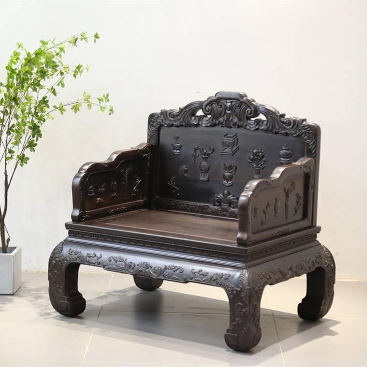 经典清式风格紫光檀八宝沙发雕刻工艺非凡