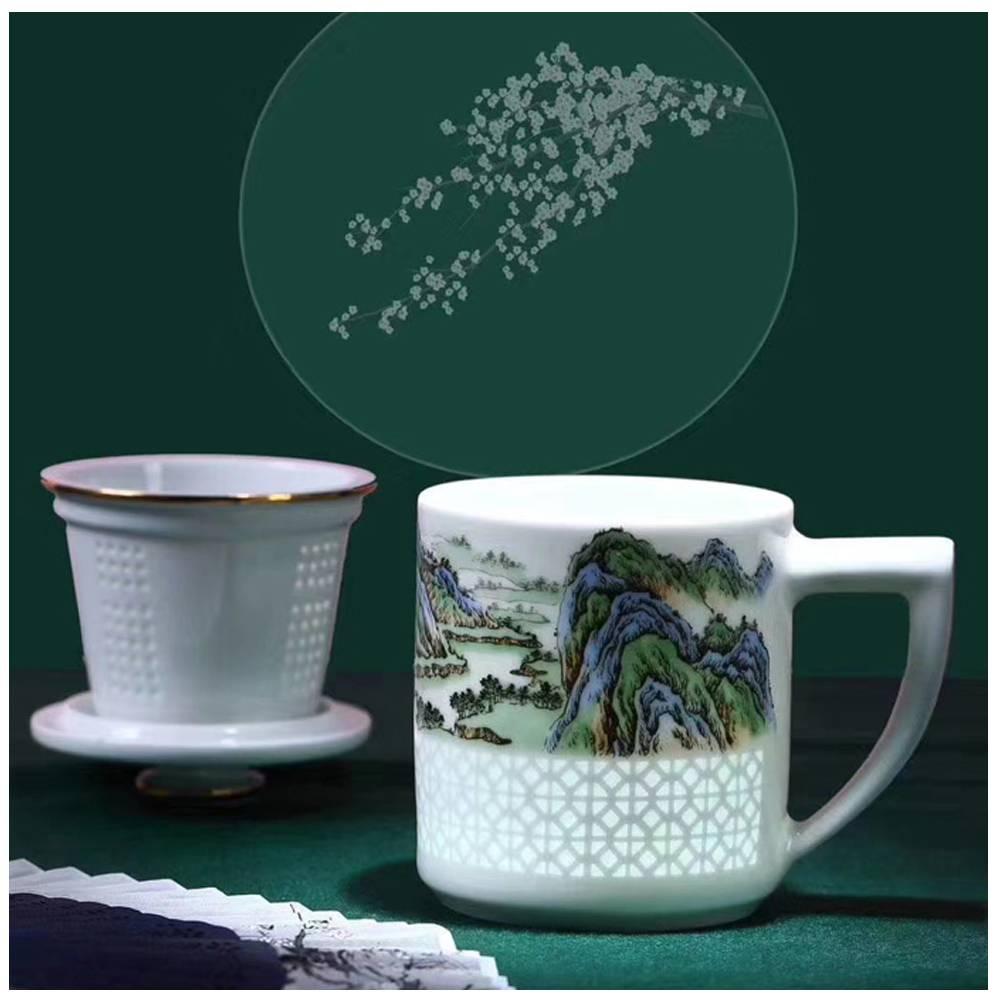手绘山水陶瓷茶杯个性带漏斗水杯景德镇茶杯厂家