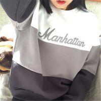 2015韩国代购金敏珠mixxmix官网同款拼色条纹字母冰淇淋色卫衣女