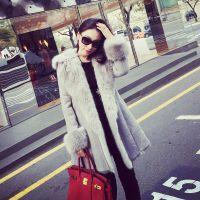 小银子2014冬装新款欧美街拍袖口拼皮毛气质厚实毛毛大衣
