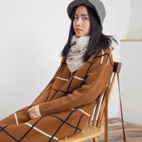 SC3329森女系大方格长款毛衣套头双层加厚毛线连衣裙2014秋冬新款