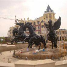 玻璃钢雕塑广场大型古铜色三匹战马拉车摆设西方天使铜雕像组合雕塑豪晋定做