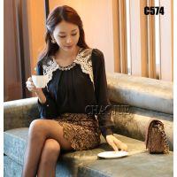 广州大众服饰时尚女装低价服装批发|服装店优质衣服货源网|韩版简约淑女T恤上衣