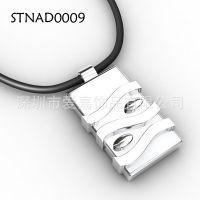 项链加工生产定制 橡胶首饰设计定做纯银钨金男士吊坠加工生产厂