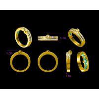 铜镀金镶嵌金绿猫眼戒指加工 金戒指 —镶钻饰品生产厂家