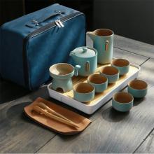 日式粗陶功夫茶具套装 户外家用快客杯带包装 陶瓷茶壶茶杯整套泡茶器