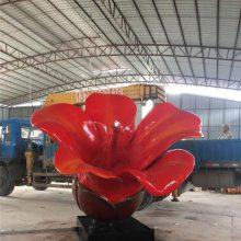 仿木棉花玻璃钢雕塑落地摆件园林景观美陈装饰植物模型道具