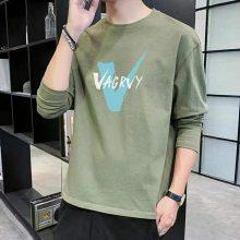 2021年男裝秋裝上衣T恤批發時尚韓版T恤批發低價長袖幾塊錢T恤批發
