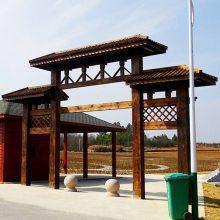 防腐木门楼定做仿古牌坊木结构牌楼工程施工园林景观厂家直营