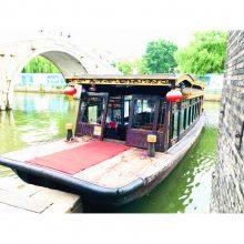 厂家出售可以吃饭喝茶的红船样式电动观光画舫手续齐全