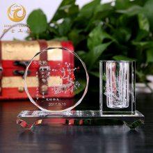 苏州公司开业礼品,水晶笔筒办公摆件,***典活动工艺品