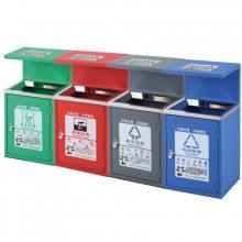 芜湖镀锌板烤漆双分类三分类四分类垃圾桶 街道多分类垃圾箱厂商