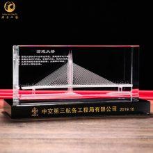 大桥竣工仪式礼品,桥梁通车庆典嘉宾礼物,定制水晶内雕桥模摆件