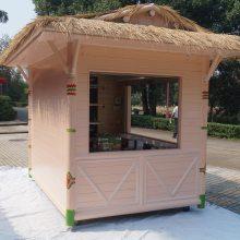 欧柱 防腐木户外移动售卖花车 游乐园糖果色樟子松小木屋售货花车