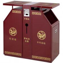 郑州广场镀锌板分类果壳箱/景点垃圾投放桶/郑州垃圾桶货源
