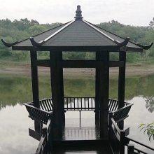 六角凉亭定做防腐木现代凉亭庭院休闲木质亭子景观工程