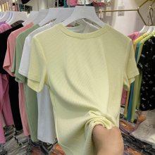 便宜尾货纯棉T恤韩版女装短袖圆领印花体恤便宜短袖T恤批发工厂