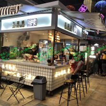 蓝白欧街 欧洲风格步行街售货亭 欧式餐饮美食小吃贩售亭零售花车