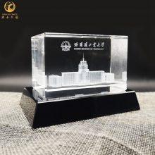 制作水晶内雕教学楼摆件,水晶建筑物模型礼品
