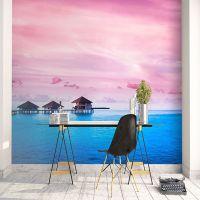 定制海景大型壁画电视背景墙壁纸卧室床头墙布粉色天空浪漫风景画
