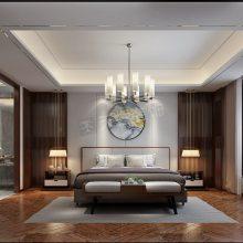恒大麓山湖别墅设计,麓山湖下叠户型装修案例,新中式风格室内设计效果图
