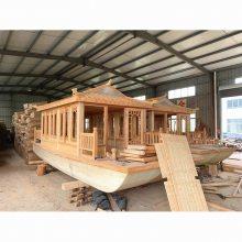 船厂定制画舫餐饮木船价格及图片可以放长条桌或者圆桌