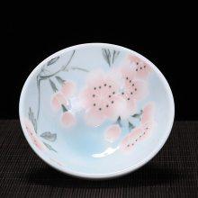 日式花卉主人杯 个性陶瓷斗笠杯茶盏功夫单杯 小茶碗主人杯 青花品茗杯