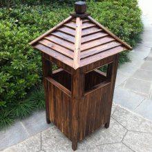 防腐木垃圾箱定做公园景区木质双桶可回收垃圾桶批发南京景观木制品厂家