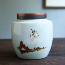普洱储存茶罐茶叶缸 储茶罐青花瓷大号茶叶罐普洱收纳盒
