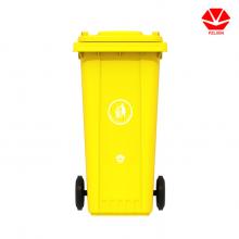 红色有害垃圾桶120L塑料挂车垃圾桶供货厂家
