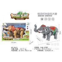 666-8带动作仿真电动大象玩具 闪光声音行走模型自动行走丛林大象