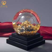 水晶球材质金箔生肖牛工艺礼品