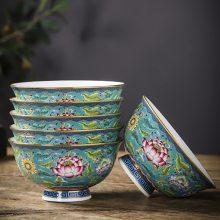 景德镇家用骨瓷金边碗碟套装 陶瓷珐琅彩餐具碗 单个米饭碗高脚碗