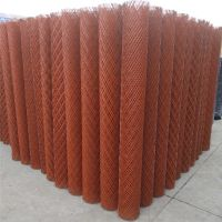 建筑施工菱形钢板网 水泥加固钢网 红色油漆涂层